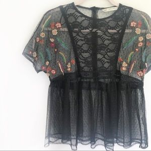 Zara Black Embroidered Lace Button Back Blouse